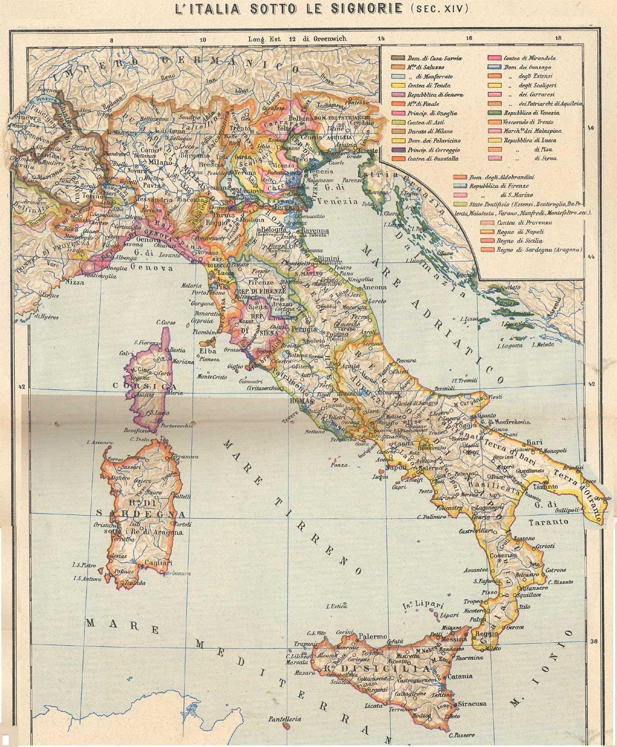 Cartina Italia Nel 400.Italia Dei Comuni Sec Xii E Xiii Cartina