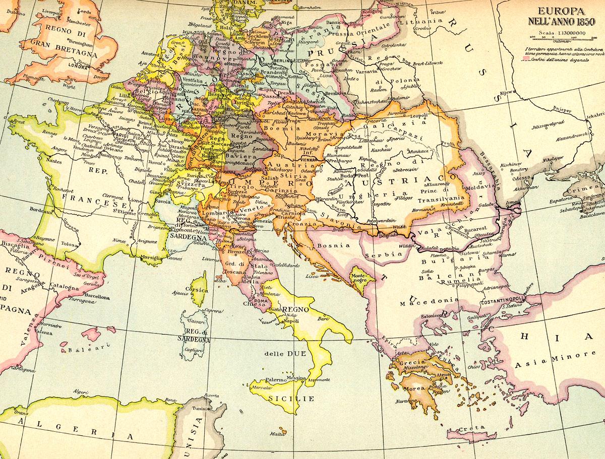 Cartina Politica Italia 1860.Europa Nell Anno 1850 Cartina