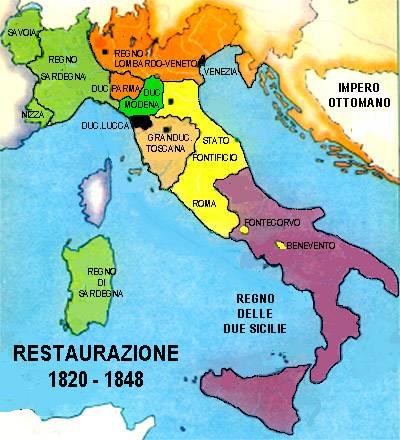 Cartina Politica Italia 1860.Italia 1820 1848 Cartina