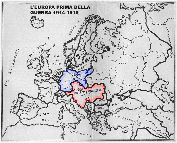 Cartina Geografica Prima Guerra Mondiale.Prima Guerra Mondiale L Europa Prima Della Guerra 1914 18