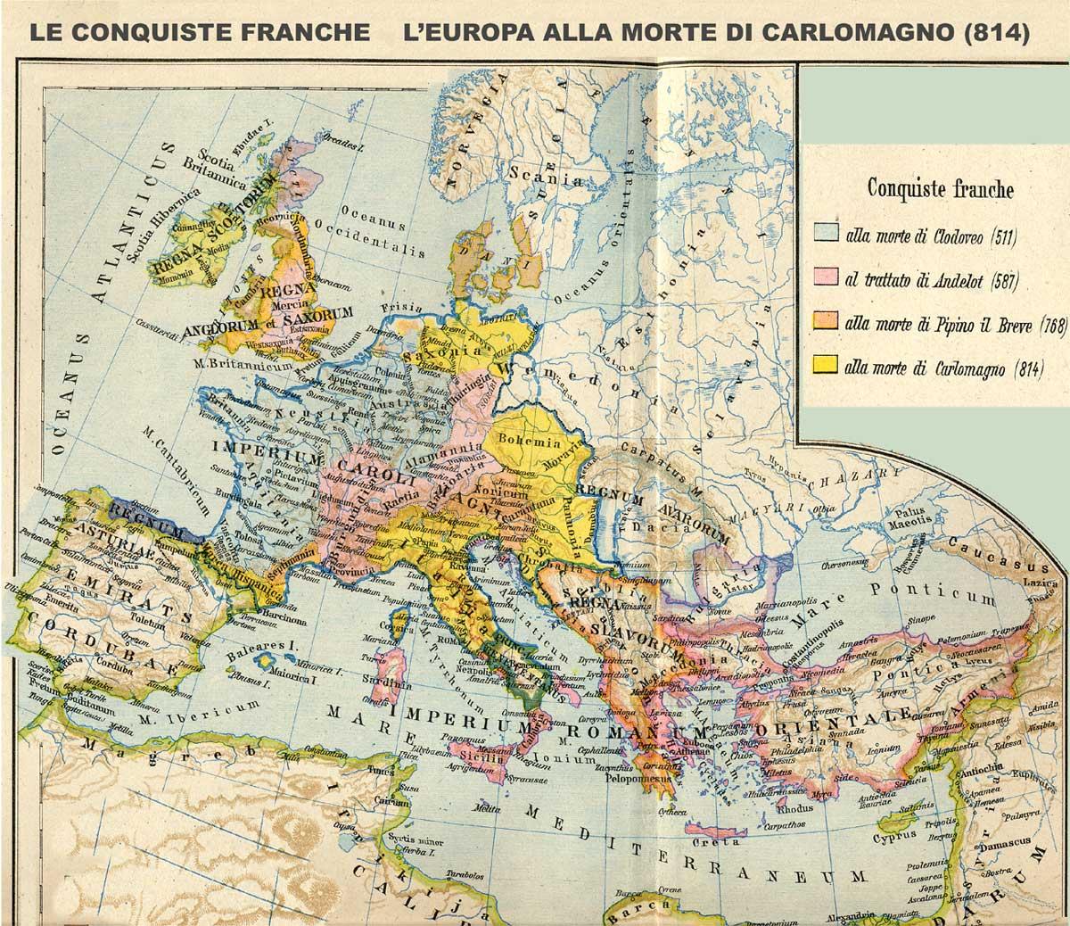 Cartina 1400.Europa Alla Morte Di Carlomagno Anno 814