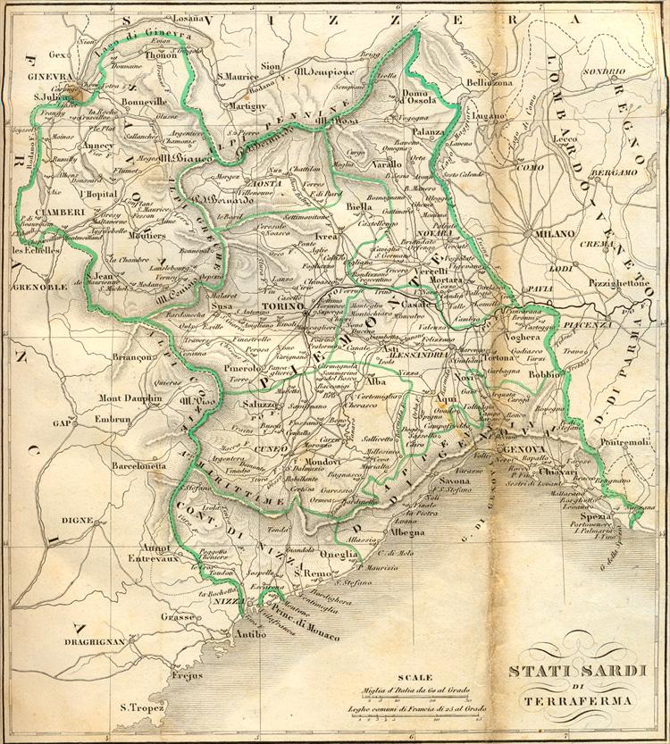 Cartina Politica Sardegna.Regno Di Sardegna Nel 1843 Cartina E Struttura